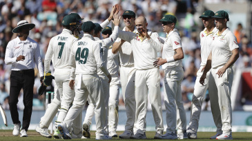 Nathan Lyon celebrates Joe Root's wicket