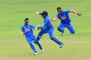 Atharva Ankolekar celebrates with Dhruv Jurel, wicketkeeper and captain, Bangladesh U-19s v India U-19s, Under-19 Asia Cup final, Colombo, September 14, 2019