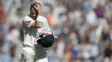 David Warner fell to Stuart Broad for the seventh time in the series