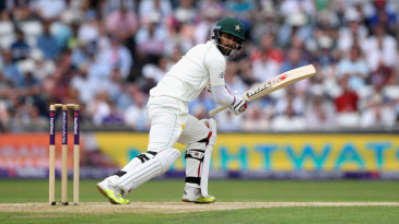 Usman Salahuddin bats during the Headingley Test against England in 2018