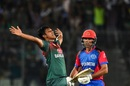 Mohammad Saifuddin is elated after picking up a wicket, Bangladesh v Afghanistan, T20I tri-series, Dhaka, September 15, 2019