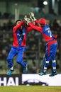 Mujeeb-ur-Rahman and Rahmanullah Gurbaz celebrate, Bangladesh v Afghanistan, T20I tri-series, Dhaka, September 15, 2019