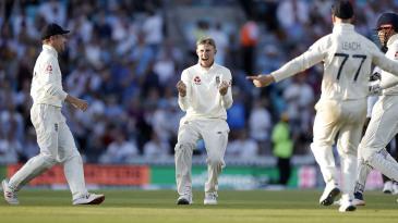 Joe Root celebrates a wicket