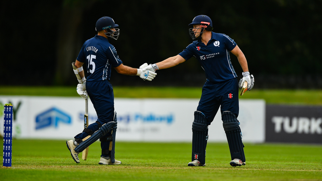 Kyle Coetzer and George Munsey added 201 runs, a Scotland T20I record for any wicket
