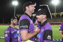 Adam Griffith and Jeff Vaughan celebrate a win for the Hobart Hurricanes, December 22, 2018