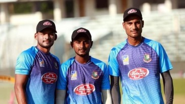 [L to R] Najmul Hossain, Aminul Islam and Mohammad Naib, the new boys in the T20I squad