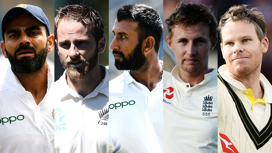 Composite: Virat Kohli, Kane Williamson, Cheteshwar Pujara, Joe Root and Steven Smith