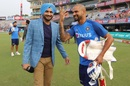 Harbhajan Singh and Shikhar Dhawan enjoy a lighter moment, India v South Africa, 2nd T20I, Mohali, September 18, 2019