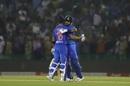 Virat Kohli and Shreyas Iyer get together after finishing off India's chase, India v South Africa, 2nd T20I, Mohali, September 18, 2019