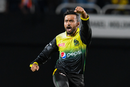 Zahir Khan celebrates a wicket during the CPL,  Jamaica Tallawahs v Trinbago Knight Riders, CPL, Sabina Park, September 13, 2019