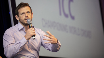 Ed Joyce speaks at the ICC's annual conference