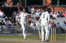 Tom Bailey of Lancashire celebrates after taking the wicket of James Harris, Lancashire v Middlesex, County Championship Division Two, Old Trafford, September 19, 2019