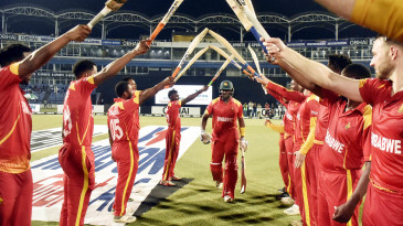 Hamilton Masakadza walks out to a guard of honour in his final match in Zimbabwe colours