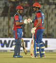 Rahmanullah Gurbaz and Hazratullah Zazai have a chat, Afghanistan v Zimbabwe, T20 Tri-series, Chattogram, September 20, 2019