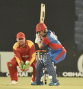 Rahmanullah Gurbaz shapes to play a shot, Afghanistan v Zimbabwe, T20 Tri-series, Chattogram, September 20, 2019