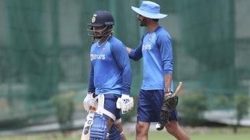 Rishabh Pant and India's batting coach Vikram Rathour at a training session