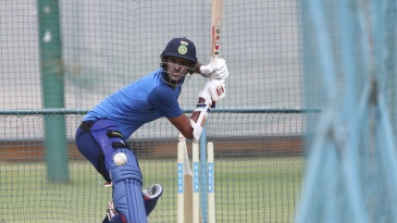 Washington Sundar bats in the nets