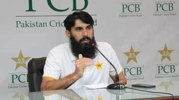 Misbah-ul-Haq speaks to the press