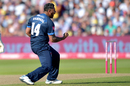 Ravi Rampaul celebrates a wicket, Derbyshire v Essex, Vitality Blast semi-final, Edgbaston, September 21, 2019