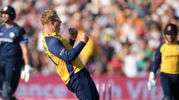 Simon Harmer celebrates another breakthrough