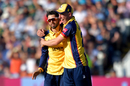 Aron Nijjar gets a hug from Dan Lawrence, Derbyshire v Essex, Vitality Blast semi-final, Edgbaston, September 21, 2019
