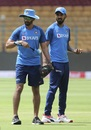 Vikram Rathour and KL Rahul during a practice session, Bengaluru, September 21, 2019