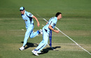 Harry Conway and Sean Abbott celebrate the run out Jimmy Peirson, Queensland v New South Wales, Marsh Cup, Brisbane, September 22, 2019