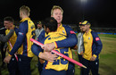 Simon Harmer celebrates victory with Ravi Bopara, Worcestershire v Essex, Vitality Blast final, Edgbaston, September 21, 2019