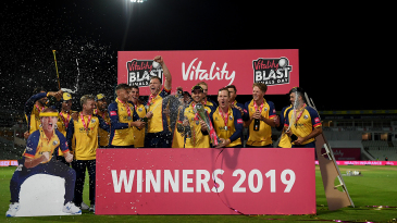 Essex - and an Adam Zampa cut-out - with the Vitality Blast Trophy