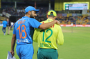 Virat Kohli and Quinton de Kock have a chat on their way to the coin toss, India v South Africa, 3rd T20I, Bengaluru, September 22, 2019