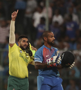 Tabraiz Shamsi celebrates Shikhar Dhawan's wicket, India v South Africa, 3rd T20I, Bengaluru, September 22, 2019