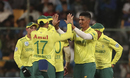 Beuran Hendricks celebrates a wicket, India v South Africa, 3rd T20I, Bengaluru, September 22, 2019