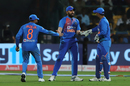 Ravindra Jadeja, Rohit Sharma, and Rishabh Pant cheer each other up, India v South Africa, 3rd T20I, Bengaluru, September 22, 2019