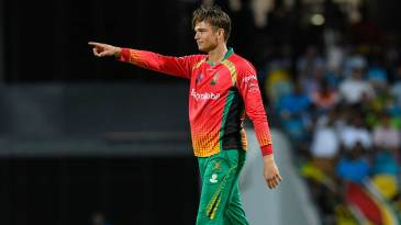 Chris Green points to his team-mate after getting a wicket