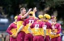 Queensland celebrate one of Billy Stanlake's successes, Queensland v South Australia, Marsh Cup, Allan Border Field, September 24, 2019