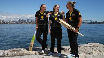 Alyssa Healy, Rachael Haynes and Ash Gardner at the launch of Australia's home season