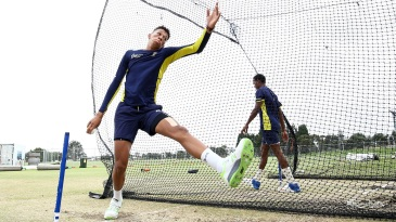 Thando Ntini bowls in the nets