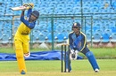 C Hari Nishanth chips one down the ground as Nakul Verma looks on, Services v Tamil Nadu, Vijay Hazare Trophy 2019-20, Jaipur, September 25, 2019