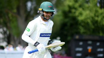 Hassan Azad of Leicestershire makes his way out to bat