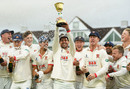 Ryan ten Doeschate lifts the County Championship Division One Trophy as Essex celebrate, Taunton, September 26, 2019