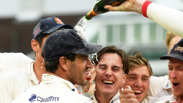Ryan ten Doeschate is drenched is bubbly by his team-mates