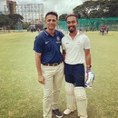Amandeep Khare and former India Under-19 coach Rahul Dravid find a reason to smile