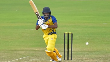 B Aparajith knocks the ball to the leg side