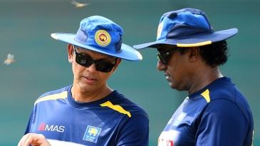 Rumesh Ratnayake (right) at a Sri Lanka training session in Karachi