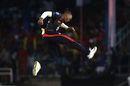 Javon Searles is thrilled after one of his strikes, Trinbago Knight Riders v Guyana Amazon Warriors, CPL 2019, Port-of-Spain, September 30, 2019