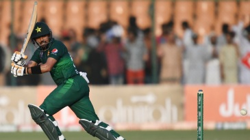 Babar Azam flicks behind square on the way to his 11th ODI century