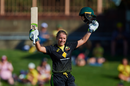 Alyssa Healy celebrates her maiden T20I century, Australia v Sri Lanka, 3rd Women's T20I, North Sydney Oval, October 2, 2019