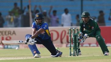 Danushka Gunathilaka plays a reverse sweep