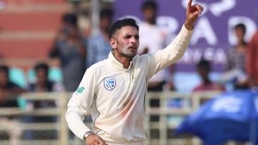 Keshav Maharaj celebrates a wicket