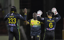 Derval Green is congratulated after striking early, Guyana Amazon Warriors v Jamaica Tallawahs, CPL 2019, Providence, October 3, 2019